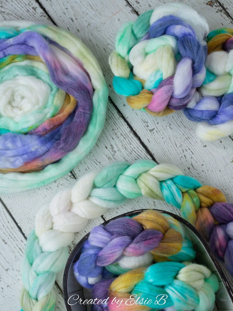 SW Merino/ Bamboo/ Nylon 'Unicorns' 4 oz purple hand dyed roving for spinning, mint spinning fiber superwash roving, gold merino combed top