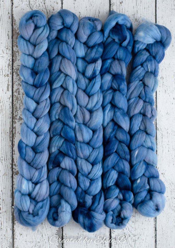 Organic Merino/ Cashmere 'Azure' 4 oz semi-solid blue combed top, wool roving by the pound hand dyed roving, CreatedbyElsieB spinning fiber