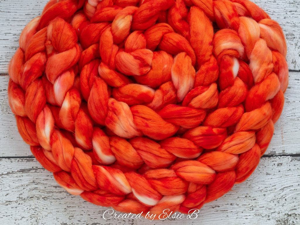 Organic Merino/ Cashmere 'Solar Flare' 4 oz semi-solid orange combed top, wool roving by the pound hand dyed  CreatedbyElsieB spinning fiber