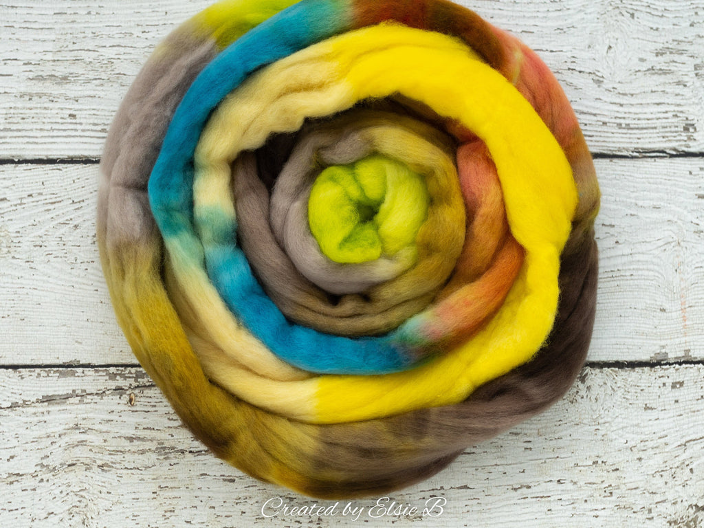 Polwarth 'Neon Bohemian' 4 oz brown combed top for spinning, CreatedbyElsieB spinning fiber, green wool by the pound, blue hand dyed roving