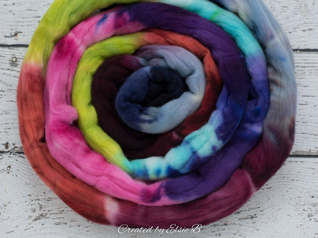 Targhee 'Candy Mountain' 4 oz hand dyed spinning fiber, pink dyed roving, CreatedbyElsieB green combed top, rainbow wool roving by the pound
