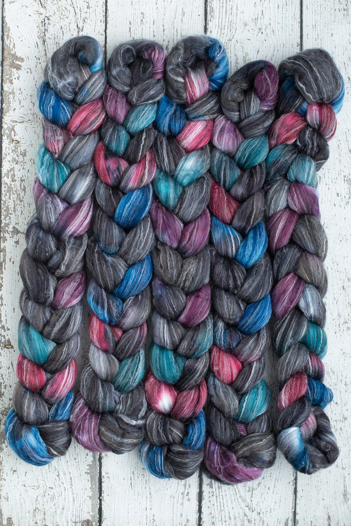 Corriedale/ Bamboo/ Silk 'Firework' 4 oz black wool CreatedbyElsieB hand dyed combed top, red spinning fiber, teal wool roving for spinning