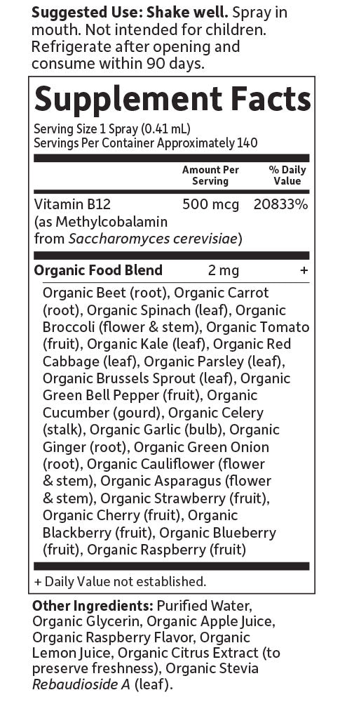 mykind Organics B12 Spray Nutritional Information