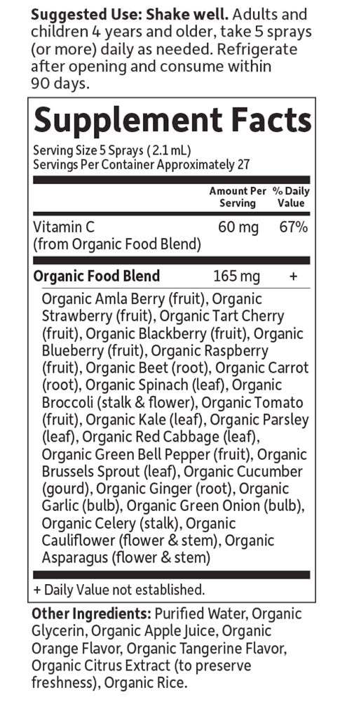 mykind organics Vitamin C Spray Nutritional Information