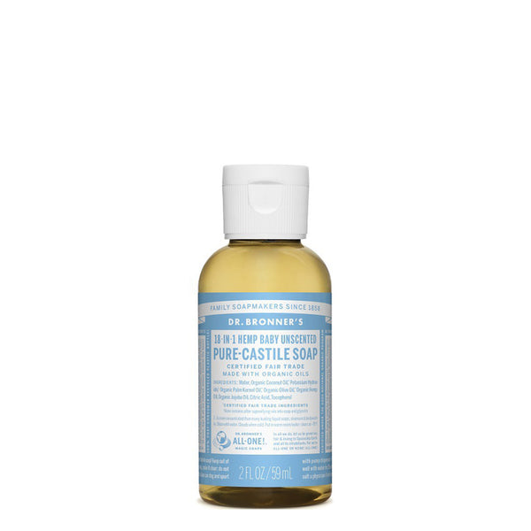 DR BRONNER PURE CASTILE LIQUID SOAP TRAVEL UNSCENTED