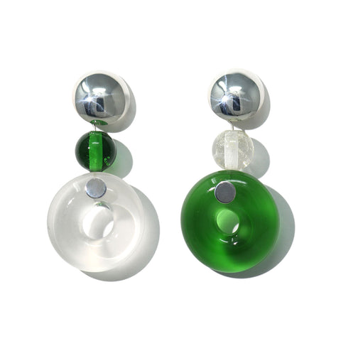 Cled Clear Green Circle Earrings | Sustainable Jewellery | UK Store