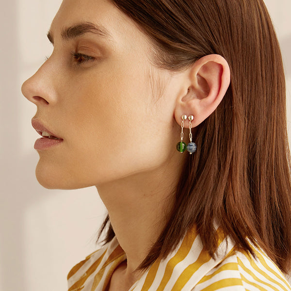 Cled Small Drop Earrrings Green | Sustainable Jewellery | UK Store