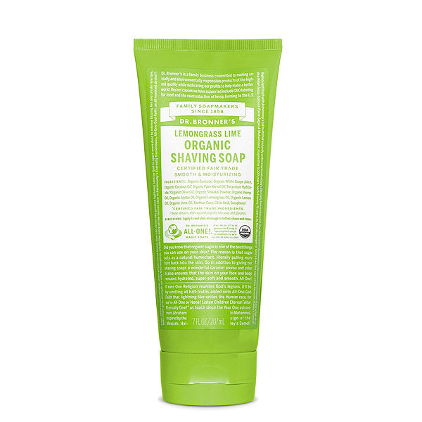 Dr Bronner Organic Shaving Soap Gel Lemongrass & Lime UK