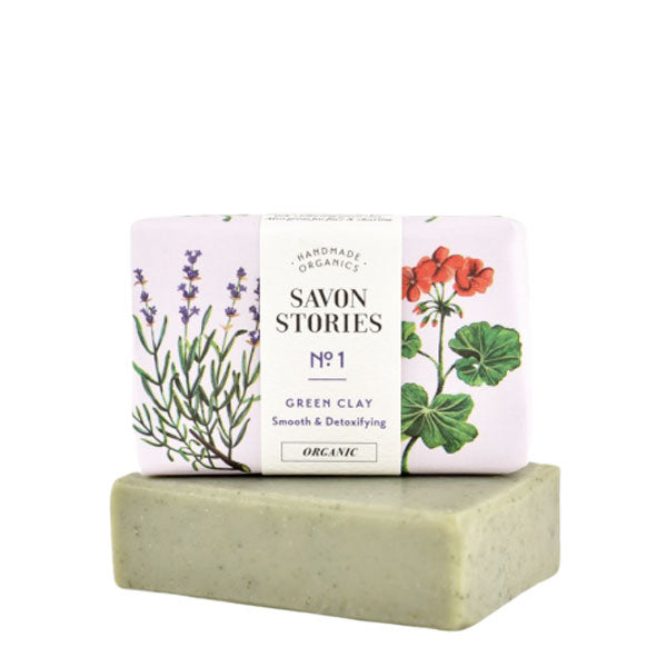Savon Stories Green Clay Bar Soap | Organic & Handmade | Content UK