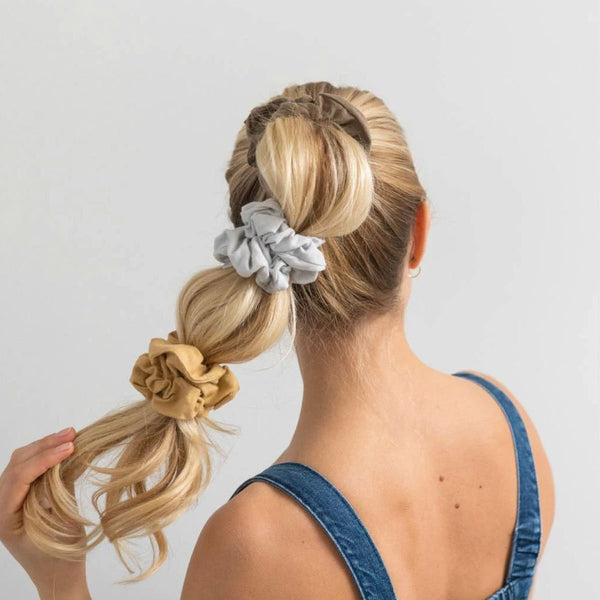 Kooshoo Organic Hair Scrunchies in Gold Sand | Plastic Free Hair Accessories