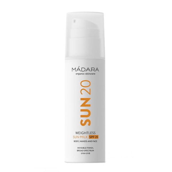 Madara Weightless Sun Milk SPF20 | Organic Natural Mineral Sunscreen