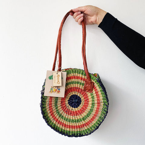 Mmaa Large Round Shoulder Bag - Orange & Green