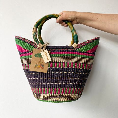 Mmaa Small Market Basket Small - Pink & Green Stripe