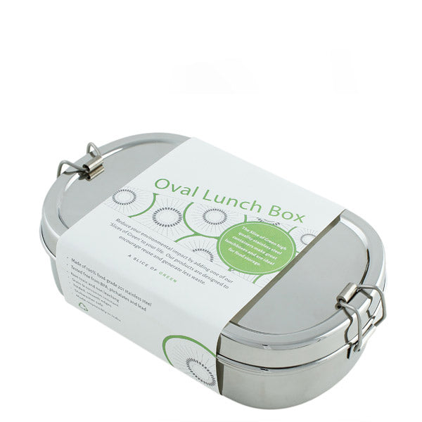 Slice of Green Reusable Steel Oval Lunch Box UK