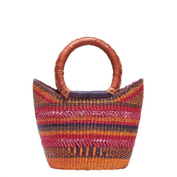 Mmaa Small Round Market Bag | Sustainable Straw Basket Bag