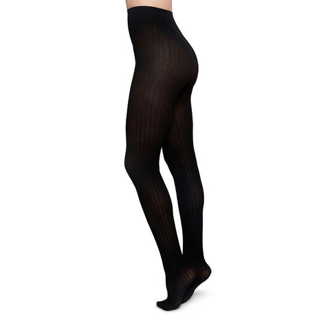 Swedish Stockings Alma Rib Tights Black | Sustainable Fashion | UK
