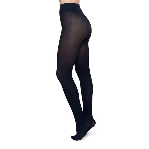 Swedish Stockings Alma Rib Tights Navy | Sustainable Tights | UK