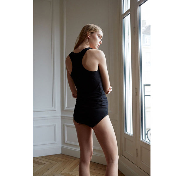 The White Briefs Aloes Rib Singlet Black | Sustainable Clothing | UK