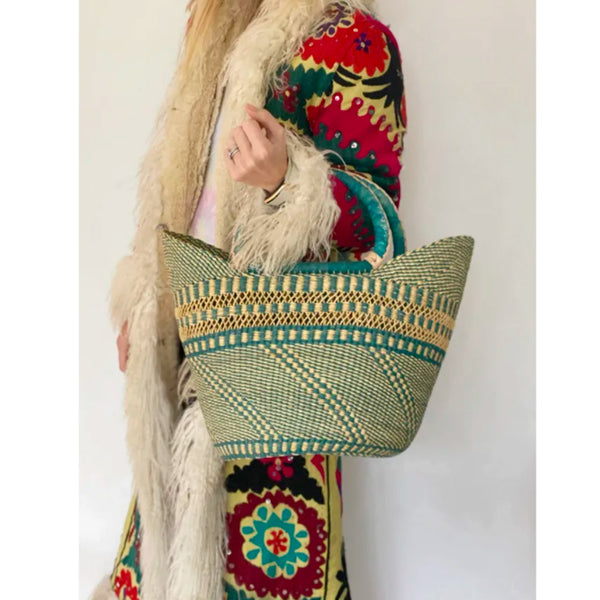 Mmaa Sandra Basket - Teal | Ethical Handmade Bags UK