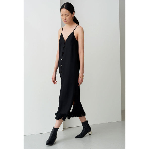 Mother Of Pearl Lydia Midi Dress Black | Organic Cotton Clothing