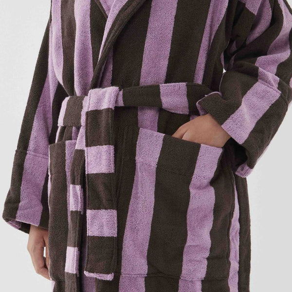 Tekla Organic Cotton Terry Bathrobe Purple & Brown Stripe | Organic UK