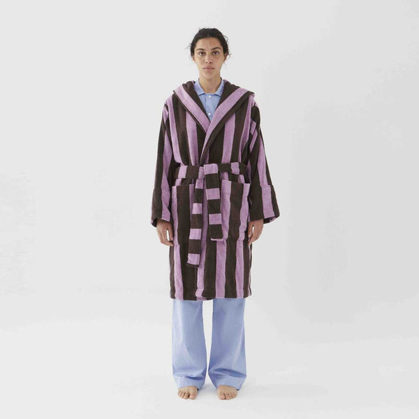 Tekla Organic Cotton Terry Bathrobe Purple & Brown Stripe