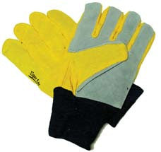 Flex Thumb Glove - Yellow Knit with Leather Palm
