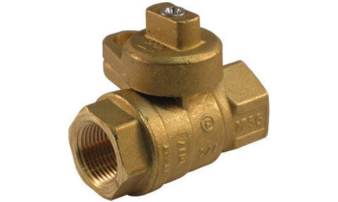 "1/2"" FPT meter stop locking shut off valve, brass"