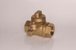 "3/4"" FPT meter stop locking shut off valve, brass"