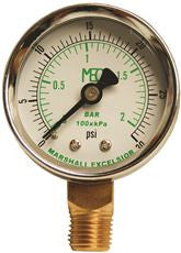 DIAL DRY PRESS GAUGE 0-15 PSI BRASS BOTTOM MOUNT 1/4 INMNPT