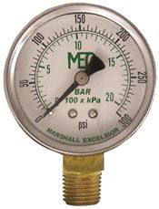 DIAL DRY PRESS GAUGE 0-300PSI BRASS BOTTOM MOUNT 1/4 INMNPT