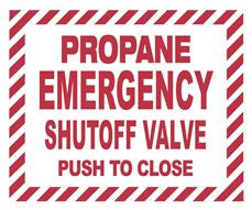 LP EMERGENCY SHUTOFF VLV PUSH TO CLOSE DECAL,5 INX 6 IN