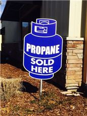 LP SOLD HERE REVOLVING SIGN DOUBLE SIDED,BLUE,24 INX 36 IN