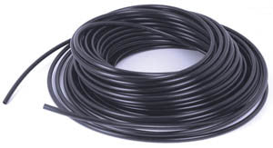 1/4 black poly tubing (sold by the foot in 100 ft coils )