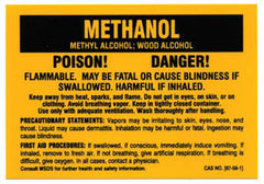 Methanol Warning Decal 3 x 5