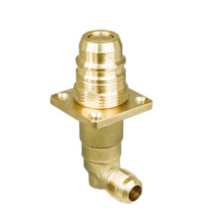 "Euro Autogas Fill Valve, Male snap-on X 1/2"" flare 90 degree"