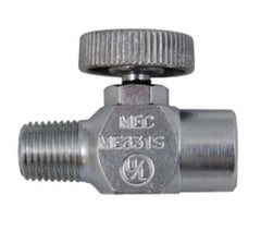 "1/4"" MPT x 1/4"" FPT Brass Needle Valve w/mpt ext"