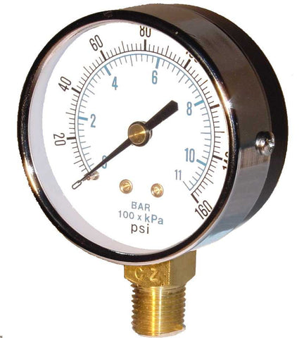 "0-15 PSI pressure gauge 2"" dia bottom connect, 1/4"" MPT"