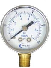 "0-30 PSI pressure gauge 1-1/2"" dial bottom connect, 1/8"" MPT"