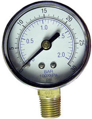 "0-30 PSI pressure gauge 2"" dia bottom connect, 1/4"" MPT"