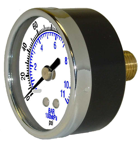"0-30 PSI pressure gauge 1-1/2"" dial back connect, 1/8"" MPT"