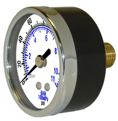 "0-60 PSI pressure gauge 2"" dia back connect, 1/4"" MPT"