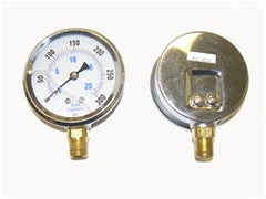 "0-300 PSI liquid filled gauge 2"" dial bottom connect 1/4"" MP"