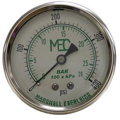 "1/4"" back mount 0-400# liquid filled gauge  SS external only"