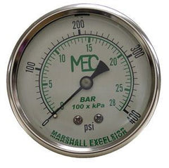 "0-400 PSI SS pressure gauge 2"" liquid filled 1/4"" back connec"