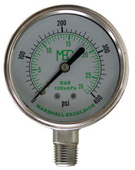 "0-400# 1/4"" bottom mount gauge stainless steel liquid filled"