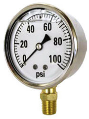 "GAUGE-1/4"" MPT BRASS BTM MT 2-1/2"" LIQ 0-100 PSI"