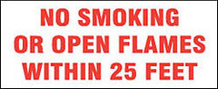 "SIGN-METAL NO SMOKING OR OPN FLME 4"" LTRS RED/WHITE 18""X12"""