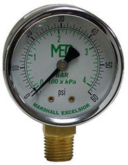 "GAUGE-1/4"" MPT BRASS BTM MT 2"" STEEL DIAL DRY 0-15 PSI"