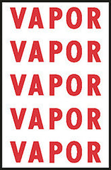"DECAL-VINYL VAPOR LABEL RED ON WHITE 4"" X 1"" 5/SHEET"